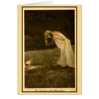 vintage art nouveau photo happy birthday, nymph card