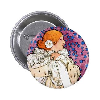 Vintage Art Nouveau Pinback Button by Mucha
