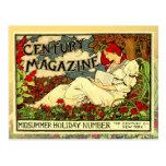 Vintage Art Nouveau Poster of woman reading Post Card