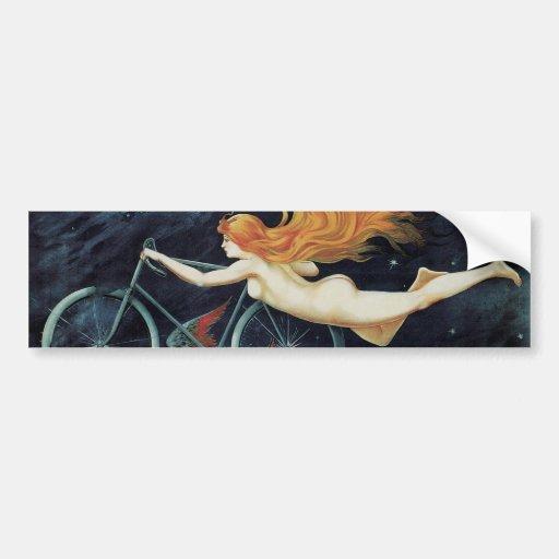 Vintage Art Nouveau Redhead Woman Gladiator Cycles Bumper Sticker