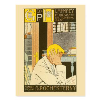 Vintage art nouveau Rochester bookstore ad Postcard