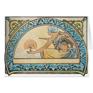 Vintage Art Nouveau sunset Card