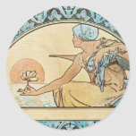 Vintage Art Nouveau sunset Round Stickers