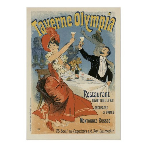 Vintage Art Nouveau; Taverne Olympia, Drinks Party Poster