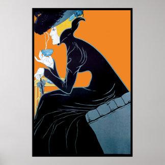 Vintage Art Nouveau Tea Advertising Poster Print