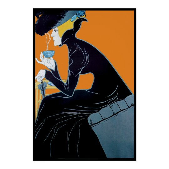 Vintage Art Nouveau Tea Advertising Poster Print