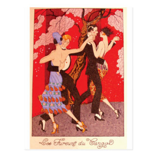 Vintage Art Nouveau ~ The Fury of Tango Postcard