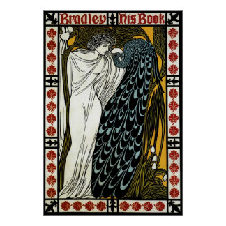 Vintage Art Nouveau This Kiss Woman with Peacock Print