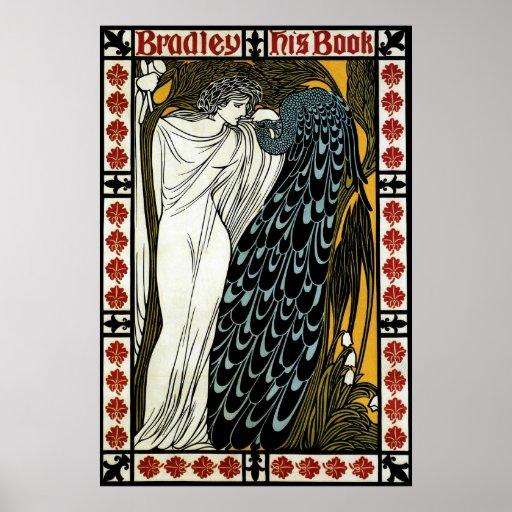 Vintage Art Nouveau; This Kiss, Woman with Peacock Print