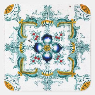 Vintage Art Nouveau Tile Square Stickers