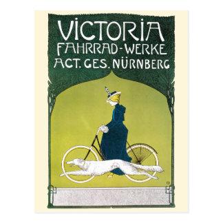 Vintage Art Nouveau, Victorian Lady Riding Bicycle Postcard