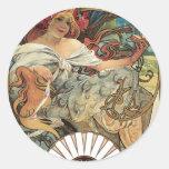 Vintage Art Nouveau Victorian Woman Alphonse Mucha Round Sticker