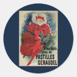 Vintage Art Nouveau, Victorian Woman in Snow Round Sticker