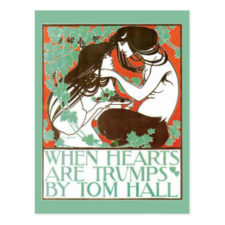 Vintage Art Nouveau, when hearts are trumps Postcard