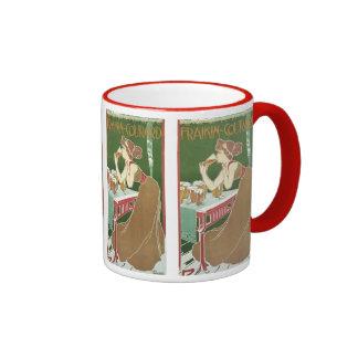 Vintage Art Nouveau, Woman Drinking Draft Beer Ringer Mug