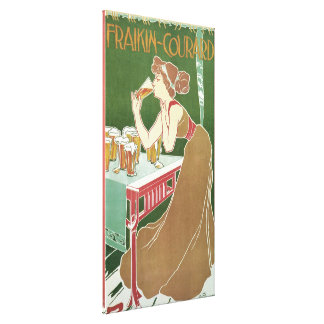 Vintage Art Nouveau, Woman Drinking Draft Beer Stretched Canvas Prints