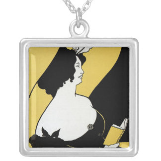 Vintage Art Nouveau, Woman Reading a Yellow Book Jewelry