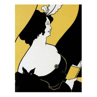 Vintage Art Nouveau, Woman Reading a Yellow Book Postcard