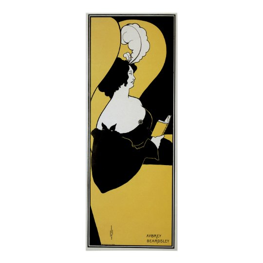 Vintage Art Nouveau, Woman Reading a Yellow Book
