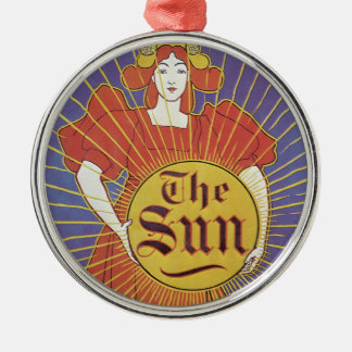 Vintage Art Nouveau, Woman with New York Sun Silver-Colored Round Decoration