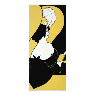 Vintage Art Nouveau, Yellow Book, Woman Reading Personalized Invitations