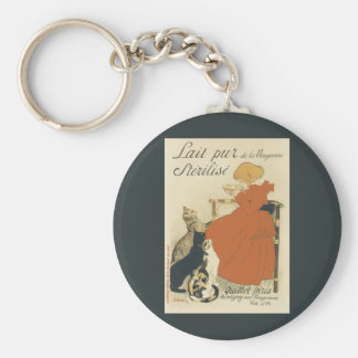 Vintage Art Nouveau, Young Girl Giving Cats Milk Basic Round Button Key Ring