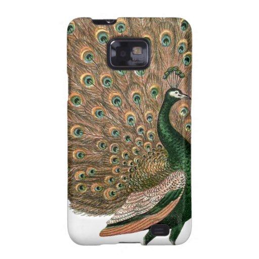 Vintage art Peafowl (peacock) plummage green gold Galaxy SII Case