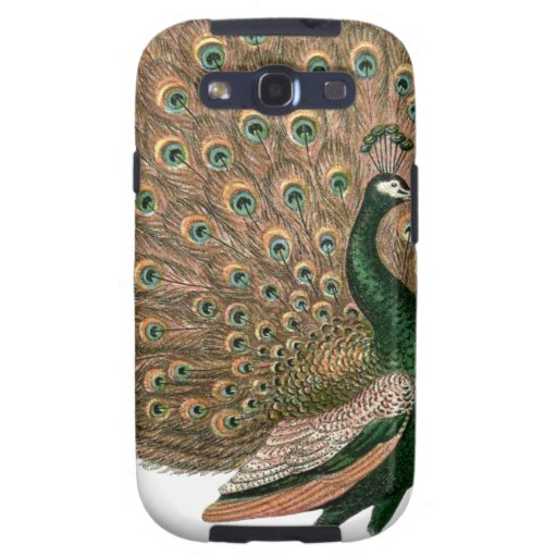 Vintage art Peafowl (peacock) plummage green gold Galaxy SIII Cover