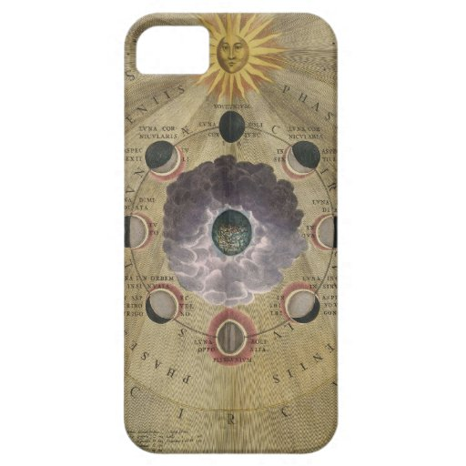 Vintage art phases of Moon chart - selenographic iPhone 5/5S Cover