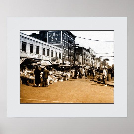 Vintage art photo: 1940 Italian Market, Bronx NYC
