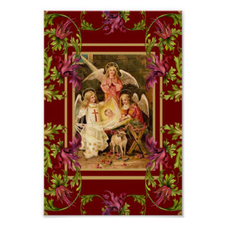 Vintage Art Poster Floral Religious Poster