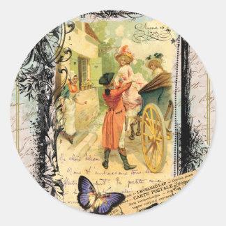 Vintage Art Print 18th Century Couple Carriage Round Sticker