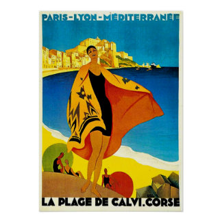 VINTAGE ART PRINT POSTER FRENCH RIVIERA BEACH