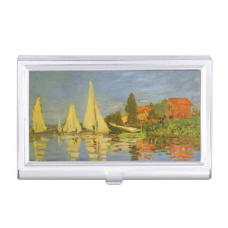 Vintage Art, Regatta at Argenteuil by Claude Monet Business Card Holders