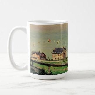 Vintage Art, Regatta at Villerville by Caillebotte Basic White Mug