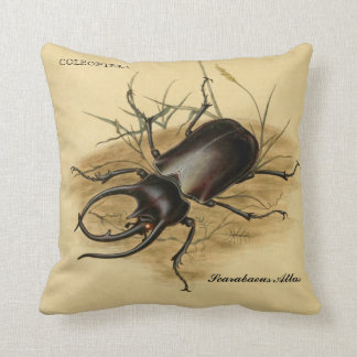 Vintage Art: Scarabaeus Atlas Beetle 1800 Cushion