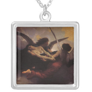 Vintage Art, Soul Brought to Heaven by Bouguereau Silver Plated Necklace