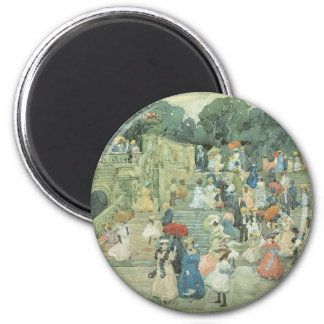 Vintage Art, The Mall, Central Park by Prendergast 6 Cm Round Magnet