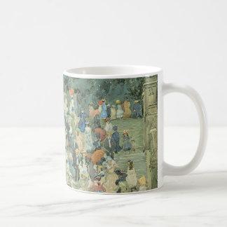 Vintage Art, The Mall, Central Park by Prendergast Basic White Mug