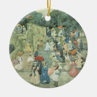 Vintage Art, The Mall, Central Park by Prendergast Round Ceramic Decoration