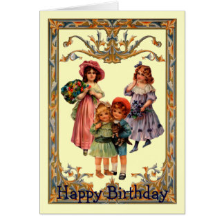 Vintage Art Victorian Children Birthday Card