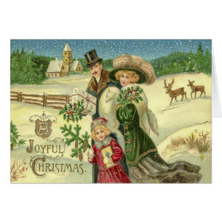 Vintage Art Victorian Family Christmas Scene Greeting Card