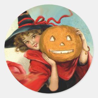 Vintage Art Witch and Pumpkin - Halloween gifts Round Sticker
