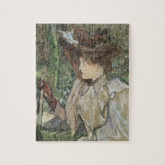 Vintage Art, Woman with Gloves by Toulouse Lautrec Jigsaw Puzzle