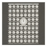 Vintage Art World Clocks time zones - wall posters