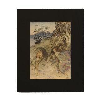 Vintage Arthur Rackham Print   Puck and a Fairy