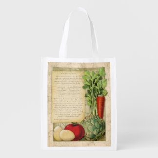 Vintage Artichoke Frittata Recipe, grocery bag