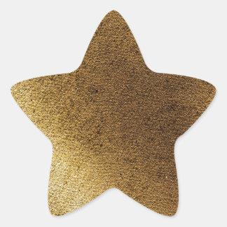 Vintage artistic gold brown distressed canvas star sticker