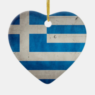 Vintage Artistic Grunge Greece Flag Christmas Ornament