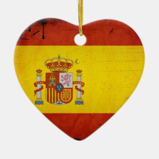 Vintage Artistic Grunge Spain Flag Christmas Ornament